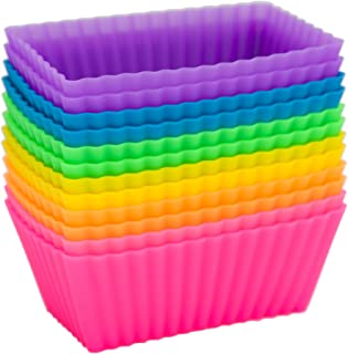 Pantry Elements Rectangular Silicone Baking Cups/Cupcake and Muffin Molds, Six Vibrant Colors - 12-Pack