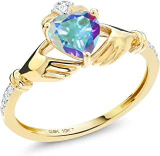 Gem Stone King 10K Yellow Gold Mercury Mist Mystic Topaz and Diamond Accent Irish Celtic Claddagh Ring (1.01 Cttw, Available in size 5, 6, 7, 8, 9)