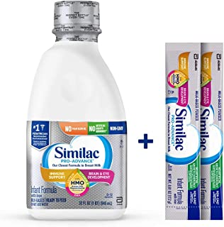 Similac Pro-Advance Infant Formula with 2'-FL Human Milk Oligosaccharide (HMO) for Immune Support, Ready to Feed, 32 oz (Pack of 6) + 2 On-The-Go Stick Packs