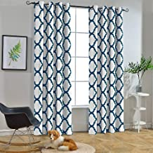 Melodieux Moroccan Fashion Thermal Insulated Grommet Room Darkening Curtains for Living Room, 52 by 96 Inch, White/Navy (1 Panel)