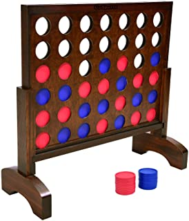 GoSports Giant Wooden 4 in a Row Game   Choose Between Classic White or Dark Stain   2 Foot Width - Huge 4 Connect Family ...