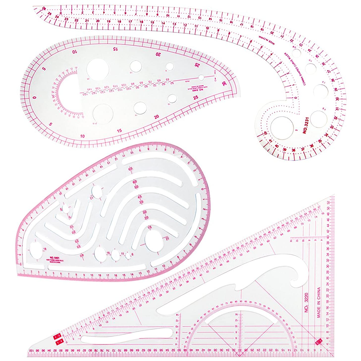 COCODE Sewing Tools 4 Stlye Sew French Curve Metric Shaped Ruler Measure for Sewing Dressmaking Pattern Design DIY Clothing Bendable Drawing Template, Perfect for Designers, Pattern Maker and Tailors