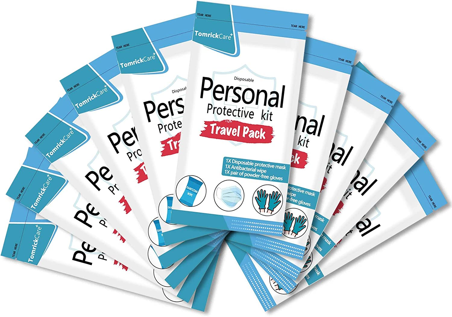 PPE Kit for Air Travel 10 Pack Max 55% OFF with Nitril Face Masks New item Disposable