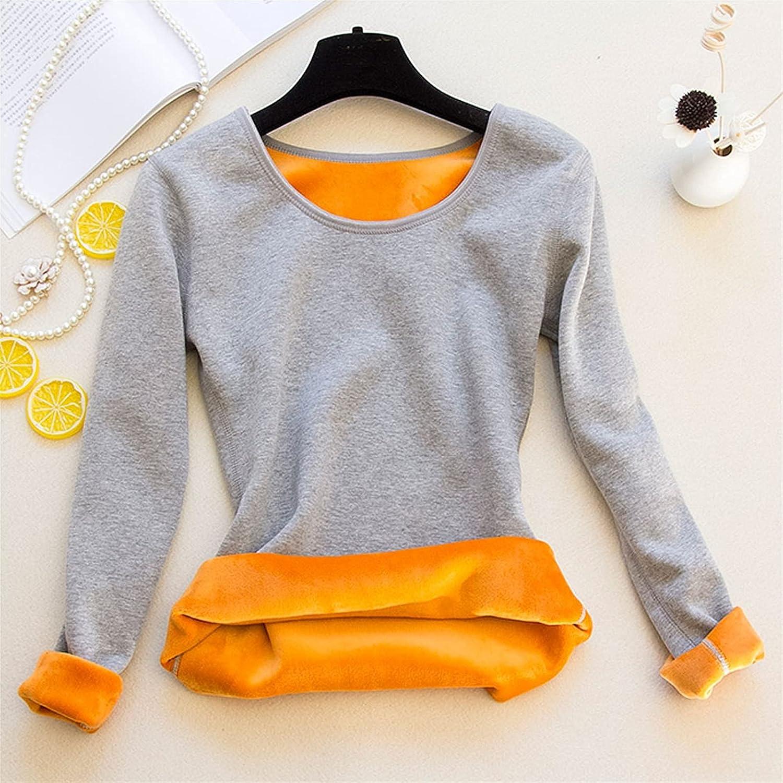 XIAOSEN Women Wool T Shirt Female Thick Fleece Long Sleeve Thermal Underwear (Color : Gray, Size : XL 60-65Kg)