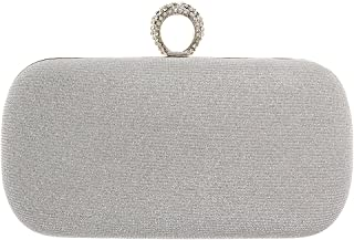 IPOTCH Women Evening Bag Clutch Bridal Wedding Purse Shoulder Chains Prom Diamante Ring