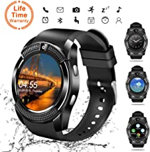Smart Watch, Bluetooth Smartwatch Touch Screen Wrist Watch with Camera/SIM Card Slot,Waterproof Smart Watch Sports Fitness Tracker Android Phone Watch Compatible with Android Phones Samsung (V8)