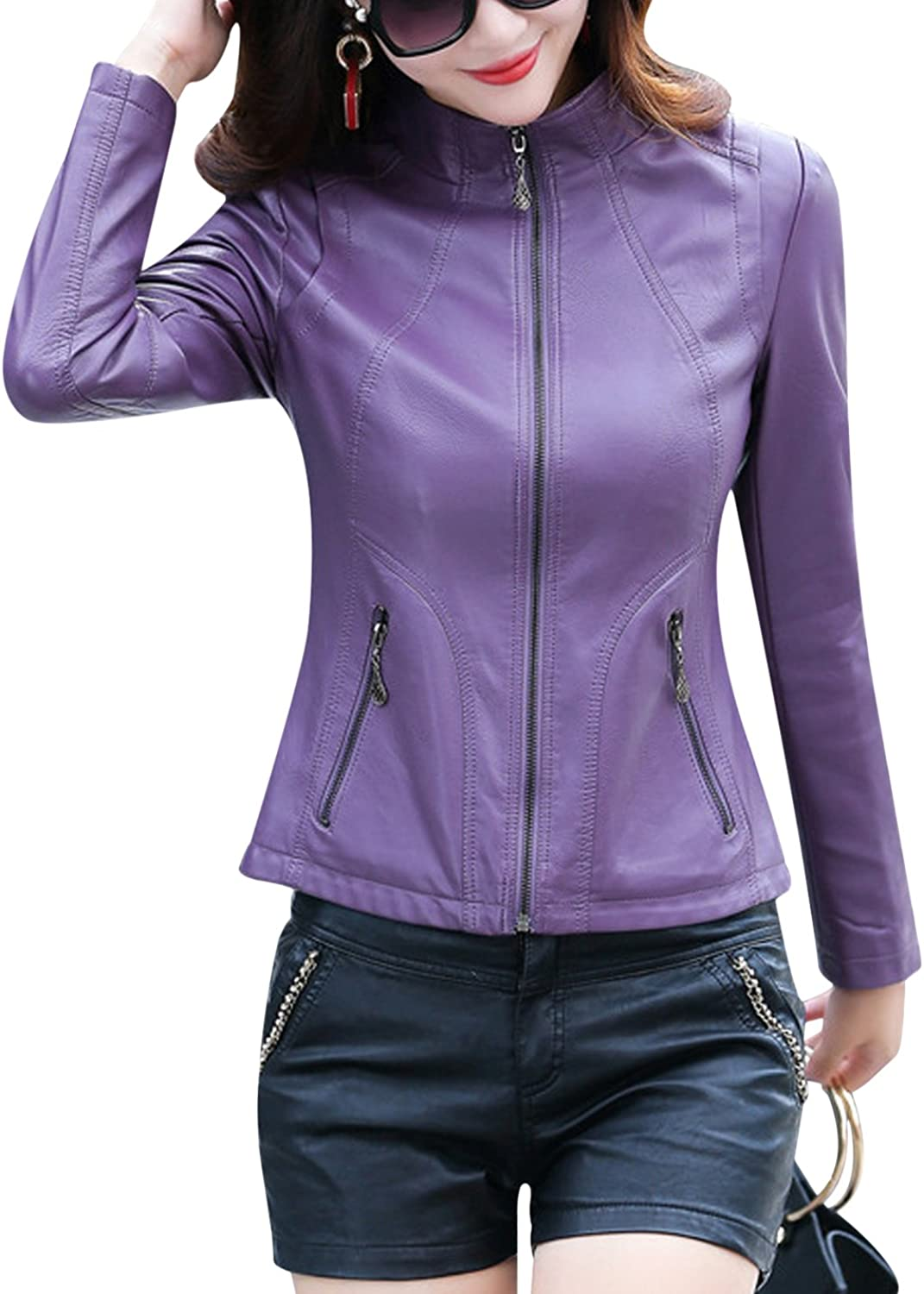 Tanming Women's Stand Collar Full Zip Up Faux Leather Jacket Outerwear