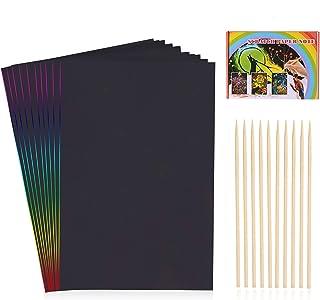 HellDoler Carte a Gratter Enfant,100 Feuilles à Gratter Papier Gratter Carte Gratter pour Écriture, Jeux, Dessins avec 4 R...