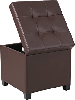 """SONGMICS ULSF60Z x 15"""" Storage Ottoman Cube with Hinged Lid/Footrest Stool/Coffee Table, Holds Up to 660lbs, Faux Leather, Brown"""