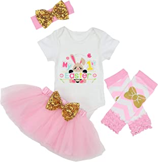 My 1st Easter Baby Girls Outfit Bunny Rabbit Romper Tutu Dress with Headband Onesie Skirt Sets