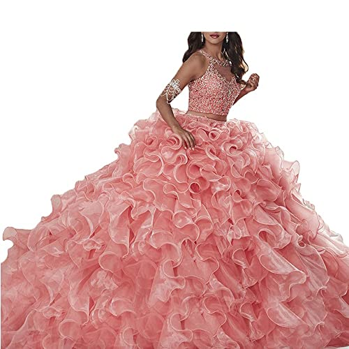 be274b3caa XPLE 2 Piece Quinceanera Gowns Pink Scoop Organza Ruffles Beaded Ball Gown  Prom Dresses Sleeveless Vestidos