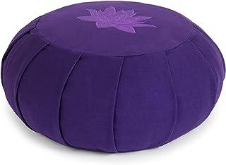 Yoga Studio YS Med/Cush/PURP/Lot Cojín Redondo para meditación de alforfón de zafu, diseño de Hojas de Loto, Color Morado, Unisex Adulto, Normal