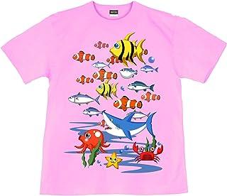 [GENJU] Tシャツ 海 魚群 物語 裏もデザイン有 メンズ キッズ