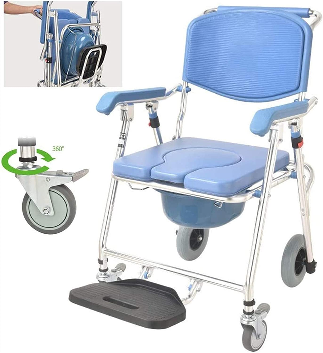 HMMN Max 62% OFF Folding Wheelchair Commode Toilet At the price Mobile Portable S Elderly
