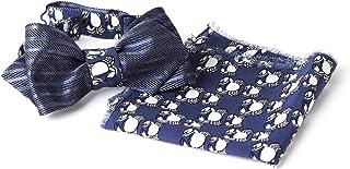 Papillon Double Face in Seta nei Colori Blu Scuro a Righe e Navy con Stampa Bianca Animalier e Fazzoletto, per Uomo, Tagli...