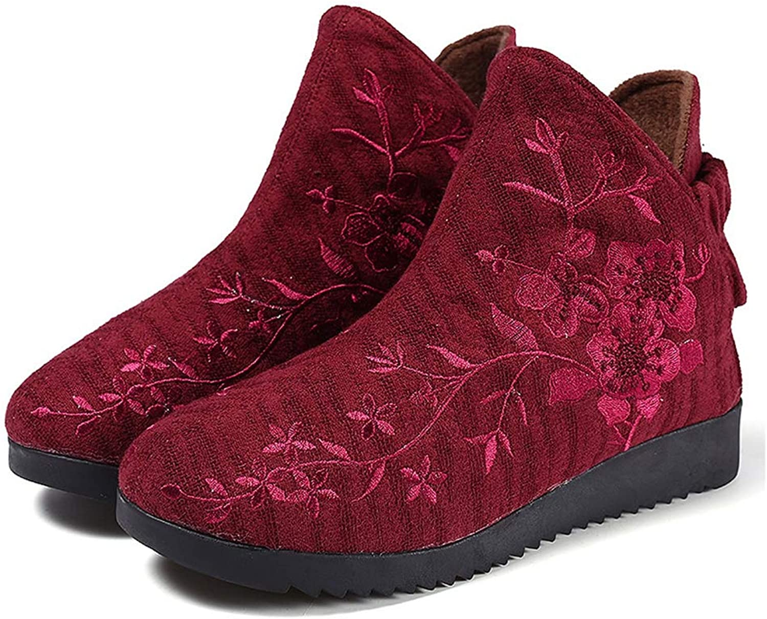 4701cc0509 Walsh Women Ankle Booties Round Toe Flat Heel Embroidery Design ...