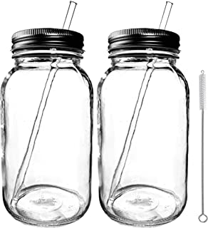 Smoothie Cup Mason Drinking Jar Regular Mouth Glass Mason Jar 32 oz/Smoothie Cup with Lid and Glass Straw 100% Eco Friendl...