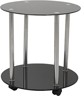AVF T62-A Black Glass & Chrome Two Tier Round Wheeled Side Table/Lamp Table/End Table/Occasional Table