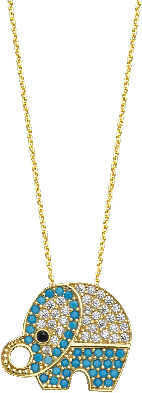 Gold Necklace, 14Kt Gold Adjustable Cubic Zircon/Nano Turquoise Elephant Necklace