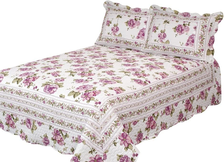 Patch Magic Peony Bloom 3-Piece Quilt Set Rose Floral Save Max 72% OFF money Pu Queen