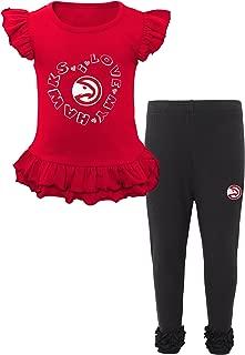 NBA Atlanta Hawks Kids Team Love Ruffle shirt & Pants Set, Small(4), Red