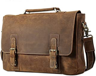 """Men's Accessories 14"""" Notebook Flat Shoulder Messenger Bag Messenger Bag Casual Bag,Vintage Style Leather Office Briefcase Handbag Outdoor Recreation"""