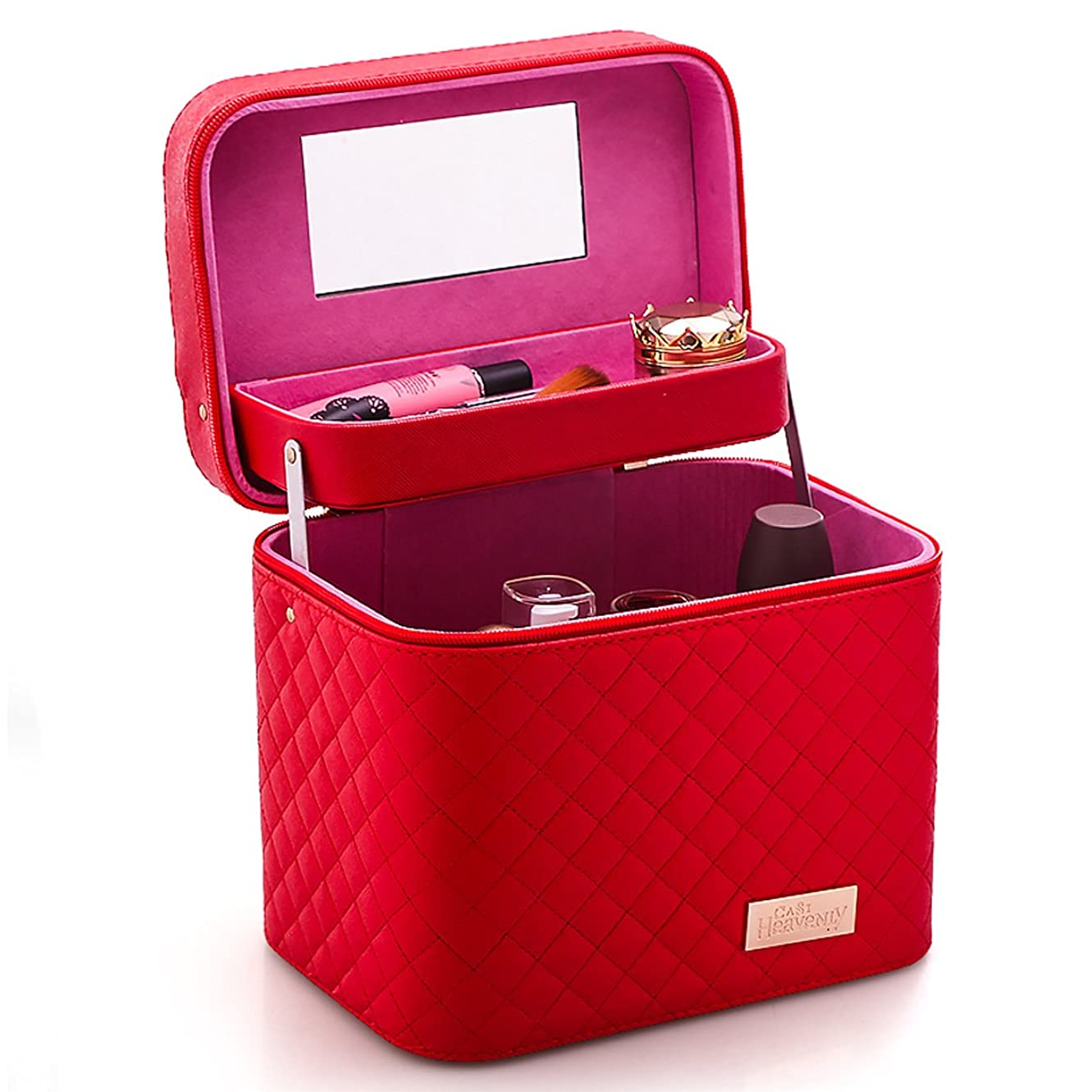 肯定的熟した限りなく化粧品収納ボックス 化粧品ケース メイクボックス メイクボックス コスメボックス 大容量 収納ケース 小物入れ 大容量 取っ手付 (レッド)
