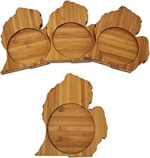 Michigan State Shaped Bamboo Coasters - Set of Four - Home Decor for Coffee Table or Office Desk, Perfect for Wedding Gifts, Birthday, Housewarming Gift, Holiday Gift Set, Living Room Decor