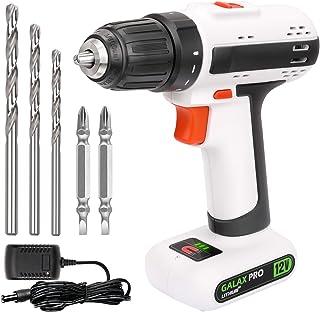 GALAX PRO Drill Driver، 12V 2-speed Light light Drill، Maximum Torque 25 N.M، 3/8 Inch Keyless Chuck، Streamlines، with 6 Accessories (GP95612)