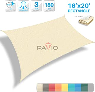 Patio Paradise 16' x 20' Tan Beige Sun Shade Sail Rectangle Canopy - Permeable UV Block Fabric Durable Patio Outdoor - Customized Available