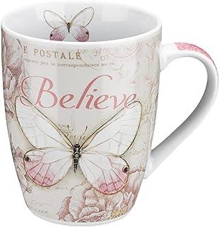 Believe Butterfly Mug – Botanic Pink Butterfly Coffee Mug w/Mark 9:23, Bible Verse Mug for Women and Men – Inspirational C...
