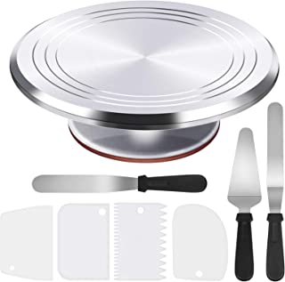 Puroma 8-in-1 Aluminium Alloy Rotating Cake Turntable 12'' Revolving Cake Decorating Stand with 3 Angled Icing Spatula, 3 ...