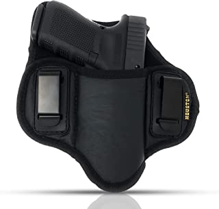 Tactical Pancake Gun Holster Houston - ECO Leather Concealed Carry Soft Material   Suede Interior for Protection   IWB   Right Hand   Fit: Glock 19 17 20 21 22 23   Beretta 92 FS, PX4, XDM, HK USP, MP