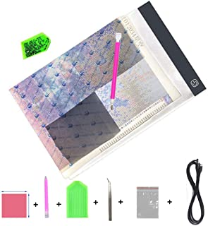 Diamond Painting A4 LED Light Pad, Dimmable Light Board Kit, Apply to Full Drill & Partial Drill 5D Diamond Painting with Painting Tools Drill Sticky Pen