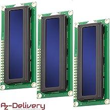 AZDelivery 3 x HD44780 1602 Modulo Pantalla LCD Display Azul 2x16 caracteres compatible con Arduino con E-Book incluido!
