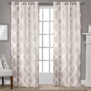 Exclusive Home Curtains Augustus Metallic Grommet Top Panel Pair, 52x84, Off-white, 2 Count