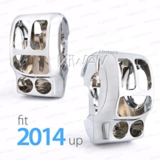 KiWAV Chrome Switch Housing Kit for Harley Touring 14-18 FLHTCUI FLHTK FLHX FLHXS,15-16 FLHTCUL,15-18 FLHTKL,17-18 FLHR