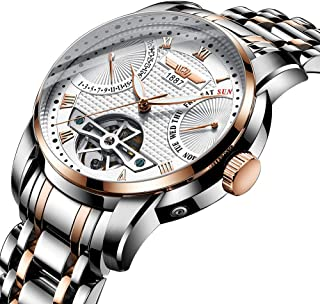 Automatic Men's Mechanical Watches Tourbillon Stainless Steel Analog Waterproof Wrist Watch for Men, Self Wind, Luminous Dial, Business Style