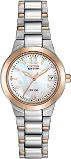 Eco-Drive Chandler Quartz Womens Watch, Stainless Steel, Casual, Two-Tone (Model: EW1676-52D)