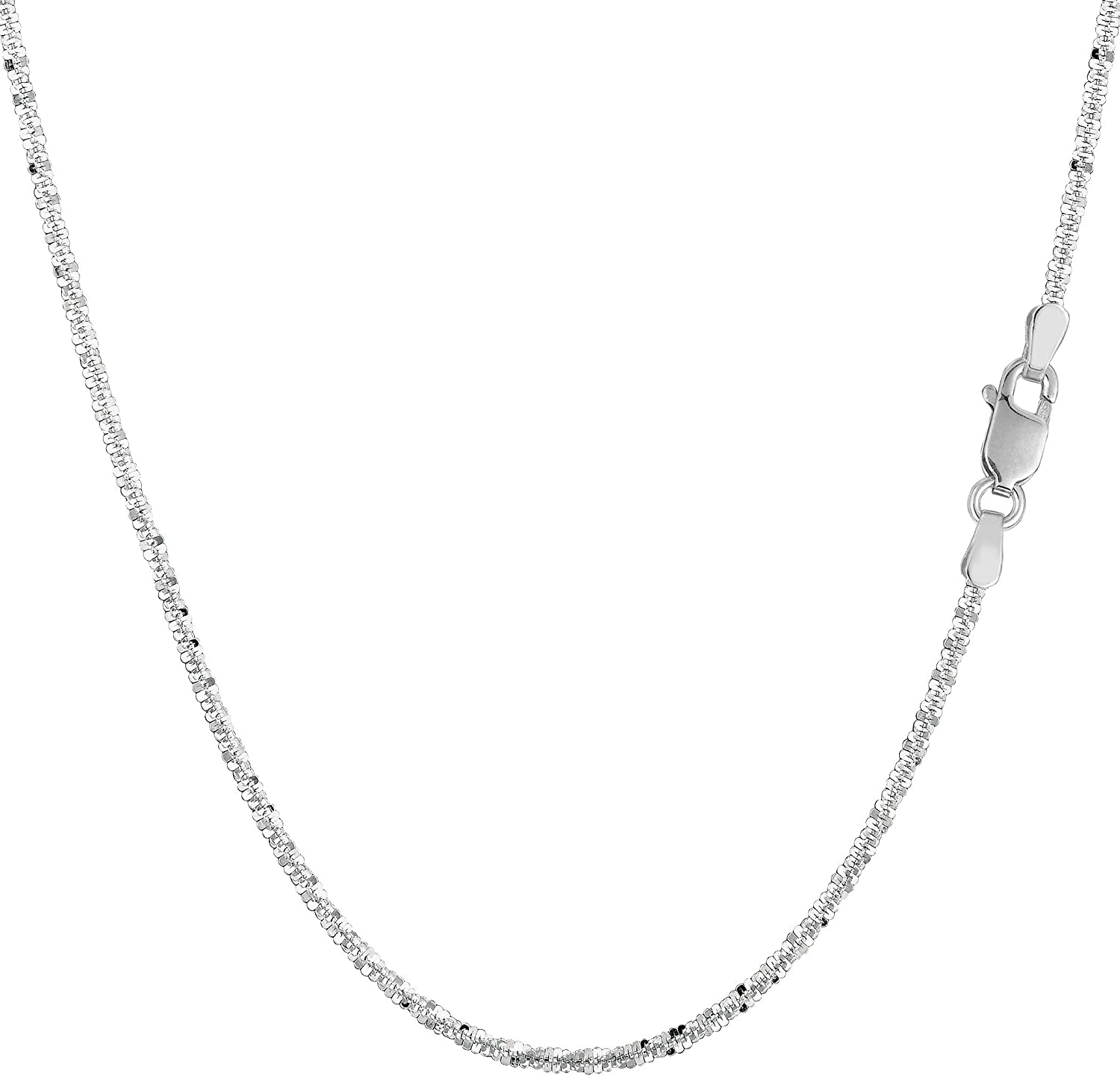 14k White Gold Sparkle Chain Necklace, 1.5mm