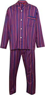 Somax Men's Purple Striped Pyjamas, 100% Cotton, Elasticated Waist