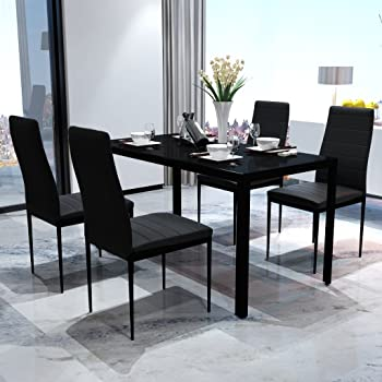 Festnight Set Tavolo da PranzoTavolo Cucina con sedie 5 Pezzi Nero
