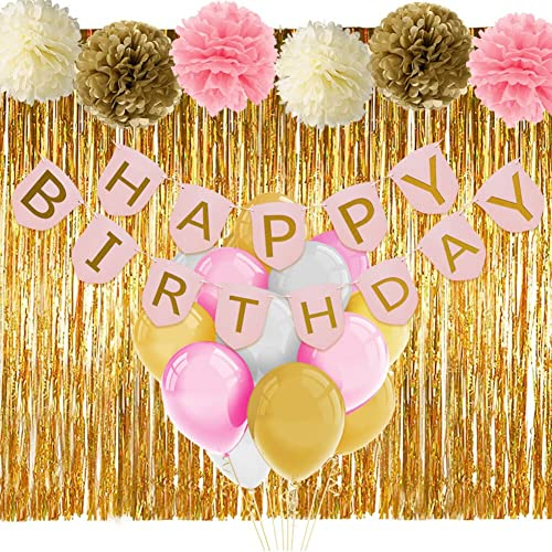 Pink And Gold Birthday Decorations With Banner Balloons Tissue Flowers Fringe Curtain For Girls 1st