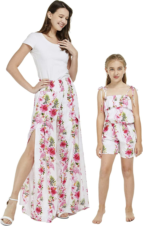 Matching Hawaiian Luau Mother 時間指定不可 Daughter Pink in Romper Pants and 即出荷