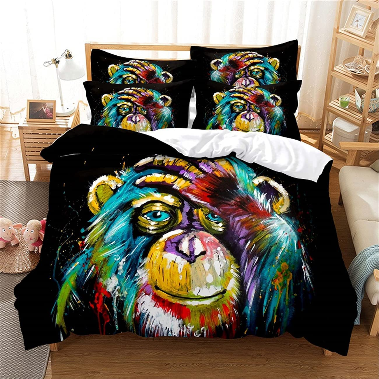 Superfine Factory outlet Fiber Denver Mall Soft Three Piece Monkey Dig Cover Painted Quilt