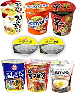 20S20 Assorted Instant Cup Noodle Soup 6 Pack with Ottogi Fresh Cooked Rice 2 Pack- Koko Samyang Gomtang Jin Ramen Hot Spicy Shin Ramen