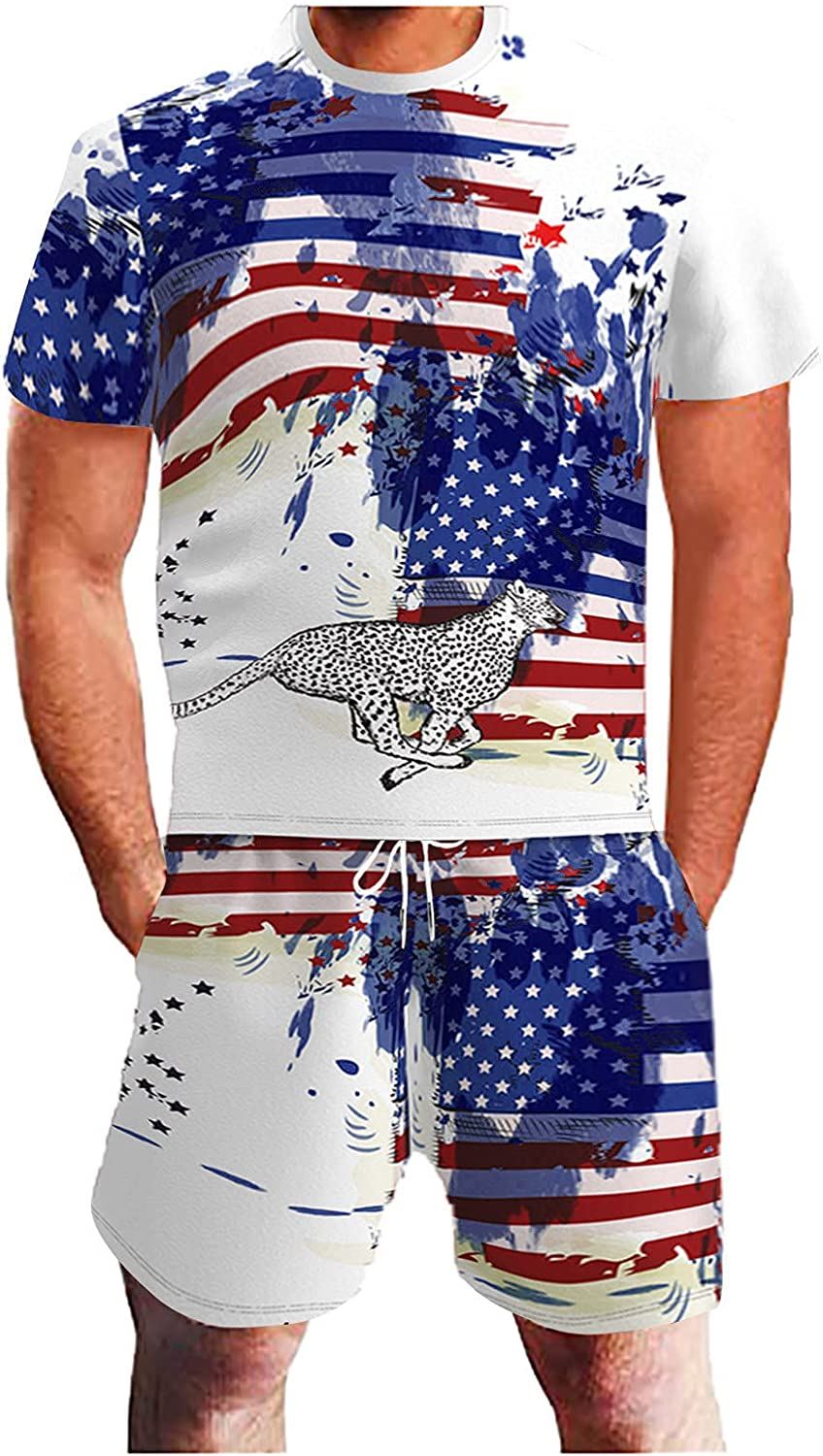 Maryia Mens Casual 3D Print Original Jumpsuits 4th of July American Flag Shorts Short Sleeve Shirt Rompers Outfits