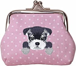 [ SCHNAUZER ] Cute Embroidered Puppy Dog Buckle Coin Purse Wallet