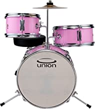 Union DBJ3067(PK) 3-Piece Mini Toy Drumset with Hardware, Cymbals and Throne - Pink