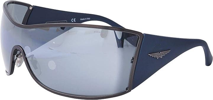 Occhiali da sole police origins 9 (s-8103-v 627x) blu opaco - grigio - argento a specchio Origins 9 S-8103-V 627X